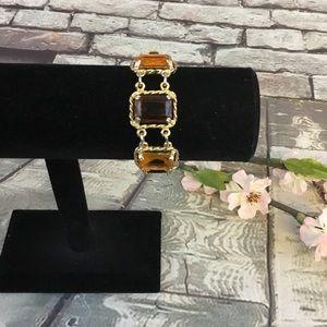 Sarah Coventry Amber Glass Stones Signed Bracelet